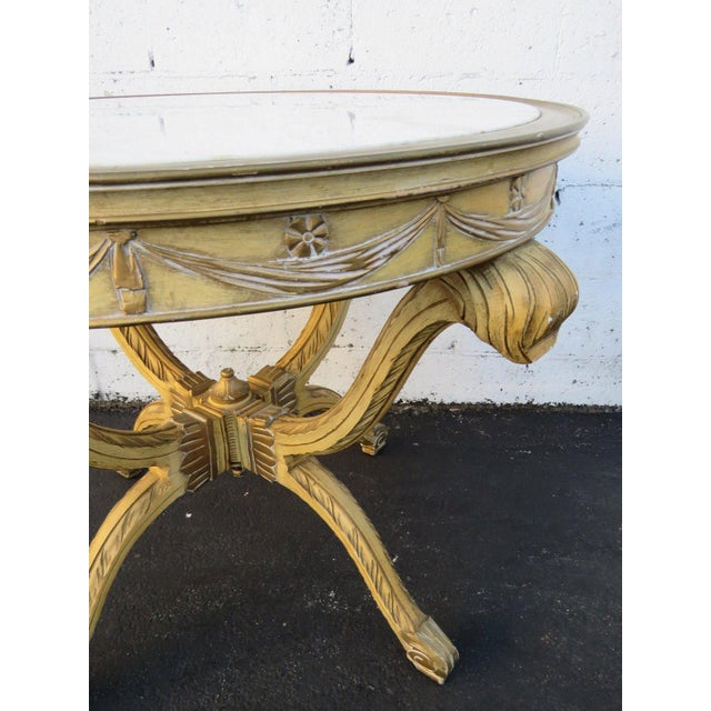 French Painted Heavy Carved Marble Top Large Center Table For Sale - Image 4 of 11