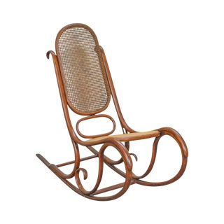 Thonet Vintage Antique Bentwood Rocker Rocking Chair For Sale