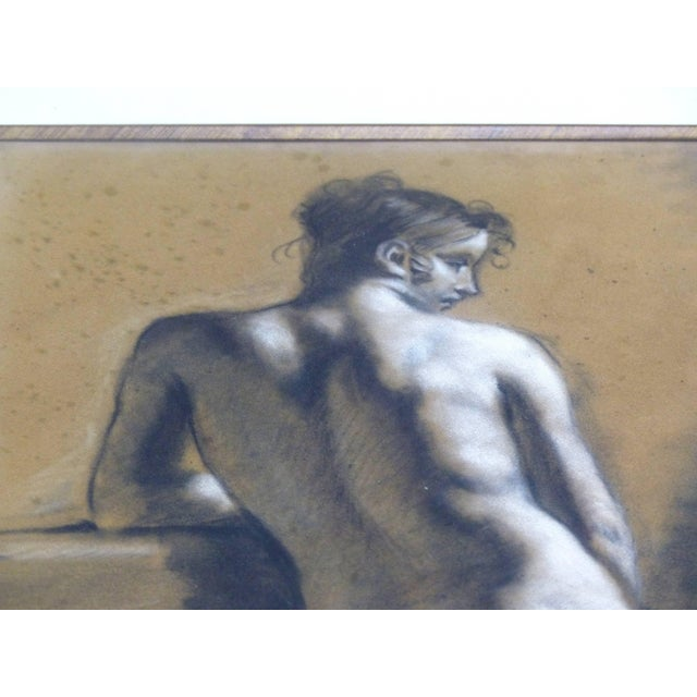 Wood Drawings of Male Nude Figures Attributed to Francois Boucher, Circa 1750 - a Pair For Sale - Image 7 of 11