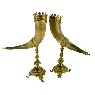 19th Century Bronze Dore Mounted Horns on Gilded Stands - a Pair For Sale