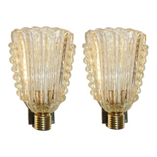 Barovier Italian Art Deco Design Crystal Gold Leaf Murano Glass Bowl Sconces - in Showroom For Sale