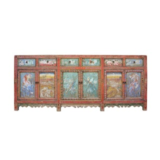 Chinese Distressed Red Graphic Long Sideboard Console Table Cabinet For Sale