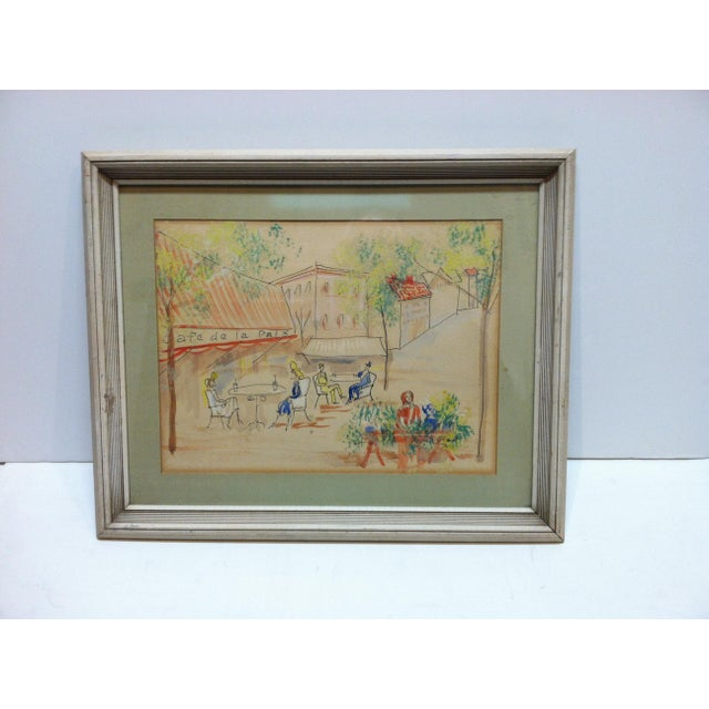 "Paper 1950s Vintage ""Cafe De La Paix"" Framed & Matted Hand-Colored Drawing For Sale - Image 7 of 7"