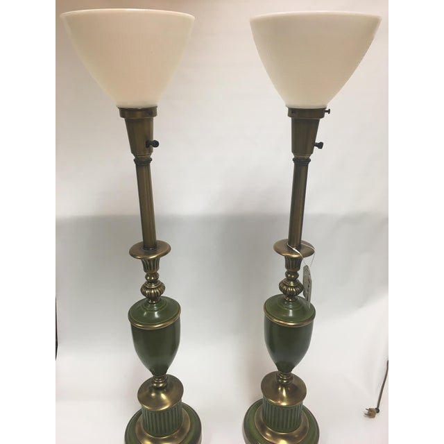Federal Green & Brass Stiffel Torchier Lamps - A Pair For Sale - Image 3 of 6