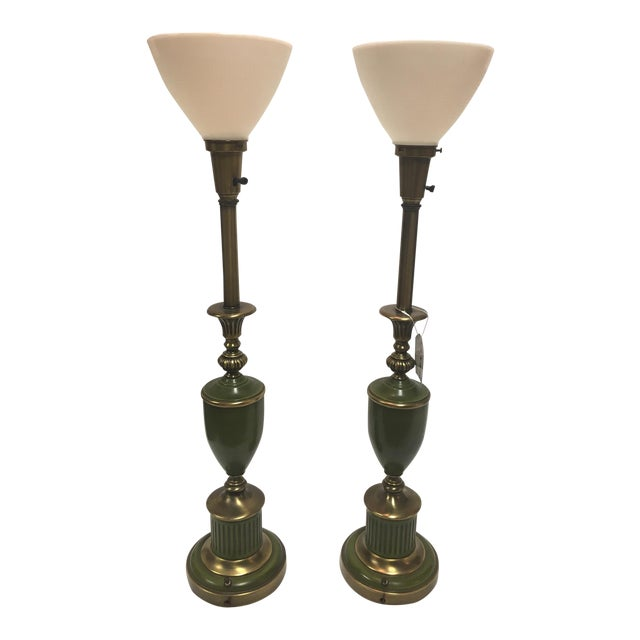 Green & Brass Stiffel Torchier Lamps - A Pair For Sale