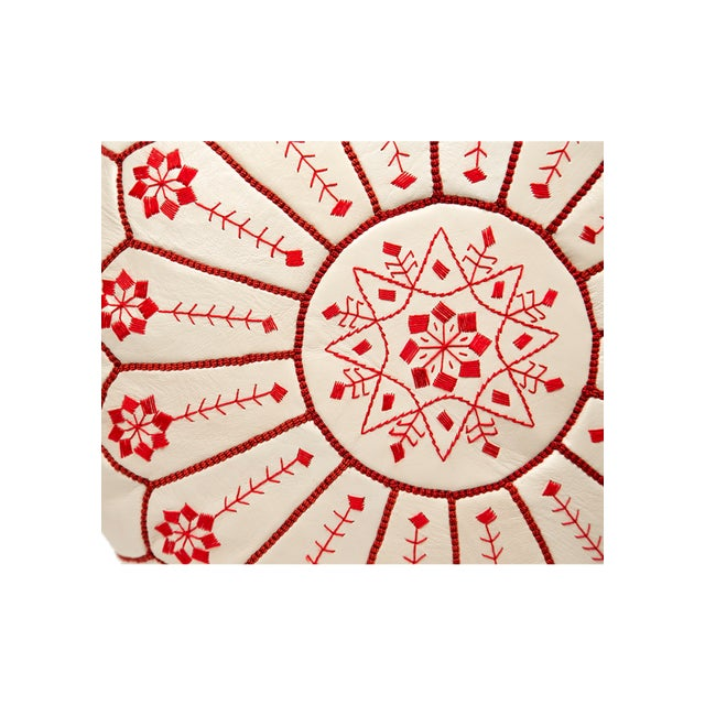 Embroidered Leather Pouf, Red on White Starburst Stitch - Image 4 of 5