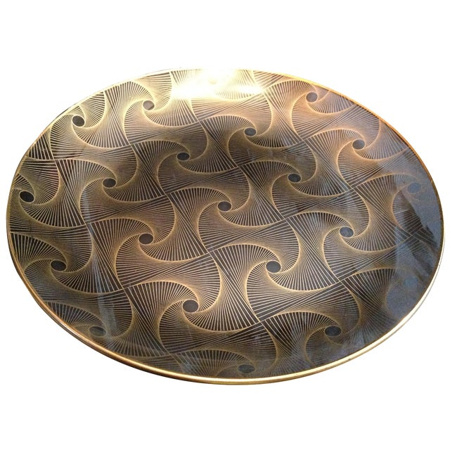 Op Art Gilded Glass Serving Plate - Image 1 of 10