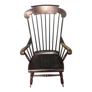 Antique Bent & Bros Black With Gold Stencil Rocking Chair For Sale