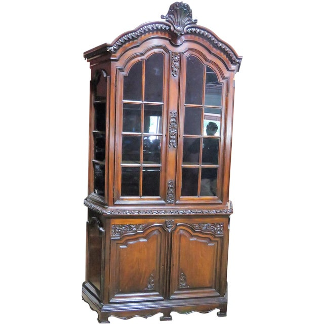 19th C. Carved Georgian 2 Pc. China Closet For Sale