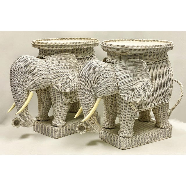 Pair of Large Scale Wicker Elephant Side Tables For Sale - Image 4 of 5