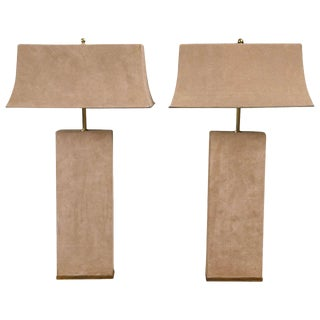 Pair of Beige Suede Lamps Attributed to Karl Springer