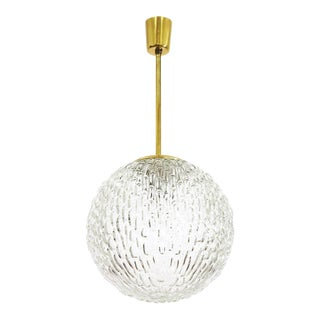 Large Textured Glass and Brass Pendant, Austria, 1950s