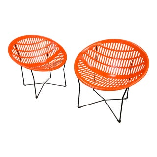 """Pair of Vintage Mid Century Modern """"Solair"""" Patio Lounge Chairs by Fabiano & Panzini For Sale"""