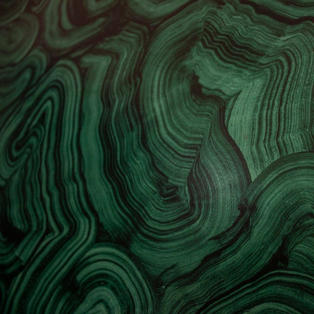 Wood Green Malachite Wall Mirror For Sale - Image 7 of 13