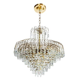 Hollywood Regency Cut Crystal Cascading Chandelier, 1950's For Sale