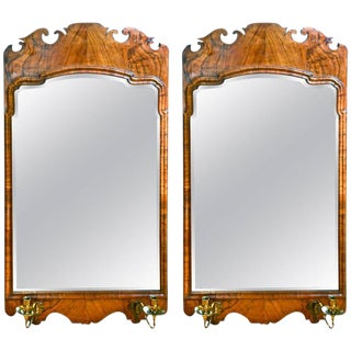 19th Century George II Style Walnut Bevelled Mirrors - A Pair For Sale