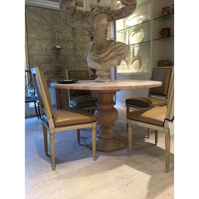Square Back Louis XVI Dining Chairs Covered in a Tan Leather - Set of 4 For Sale - Image 9 of 11