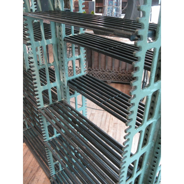 Antique Cast Iron Archival Library Bookcase by Snead For Sale - Image 9 of 10