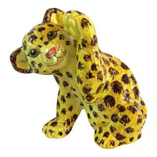 Mid-Century Italian Ceramic Cheetah Cub