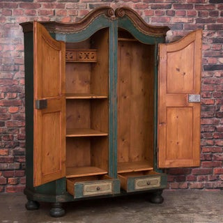 Antique German Armoire With Original Blue / Green Paint Preview
