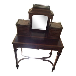 Antique Mahogany Banded Desk For Sale
