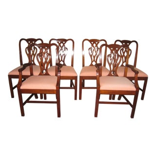 Baker Chippendale Pretzel Back Dining Chairs - Set of 6 For Sale
