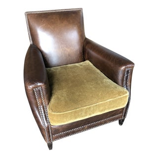 Custom Restoration Hardware Marcel Leather Club Chair For Sale