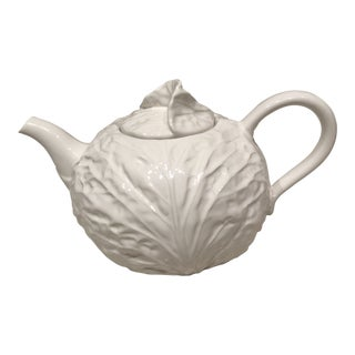 1950s Shabby Chic White Cabbage Leaf Teapot For Sale