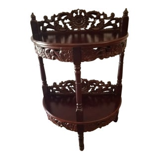 Traditional Carved Demilune Dark Cherry Wood Accent Table For Sale