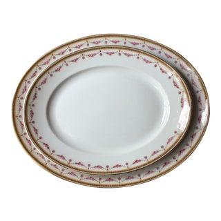 Bernardaud, Limoges 'The Melrose' Rose Garlands Gilt Platters - Set of 2 For Sale