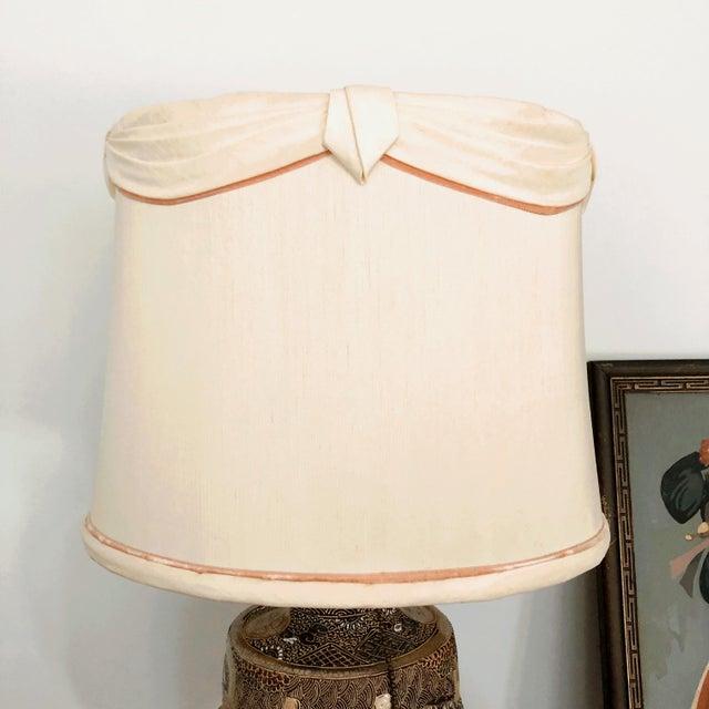 Metal Japanese Satsuma Moriage Table Lamp For Sale - Image 7 of 13
