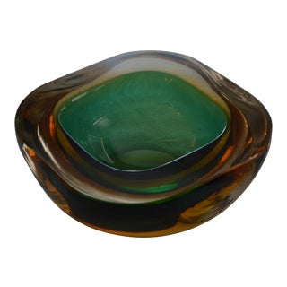 Murano Italian Glass Bowl With Emerald Green, Gold, Clear Layers For Sale