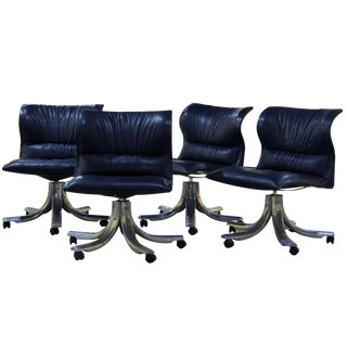 Giovanni Offredi for Saporiti Executive Black Leather Lounge Chairs - Set of 4