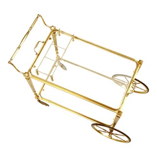Vintage French Brass Tea or Bar Cart With Removable Tray For Sale