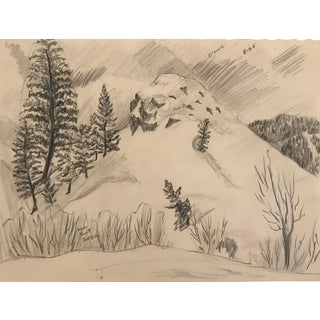 Mid-Century Mountain Snowscape Drawing For Sale