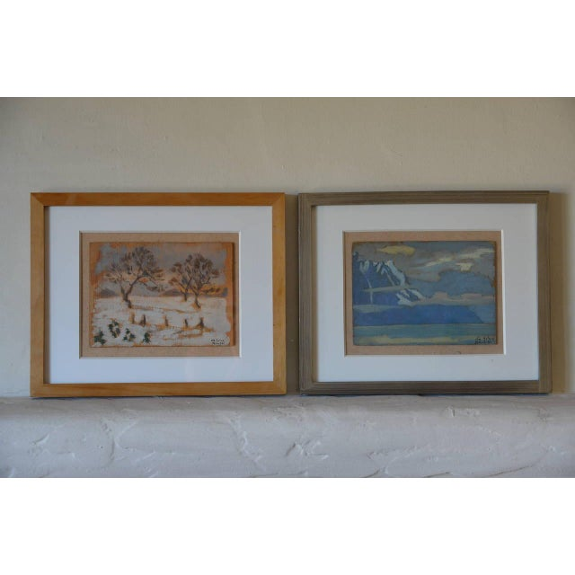 Rare set of two small framed oil paintings by Ivan da Silva Bruhns, (Paris, 1881-Antibes, 1980). Unique works. Signed....