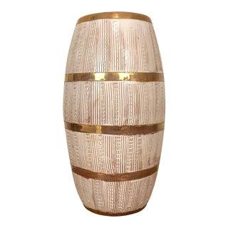 Bitossi Seta Pettinato Style Gold and White Barrel Vase For Sale