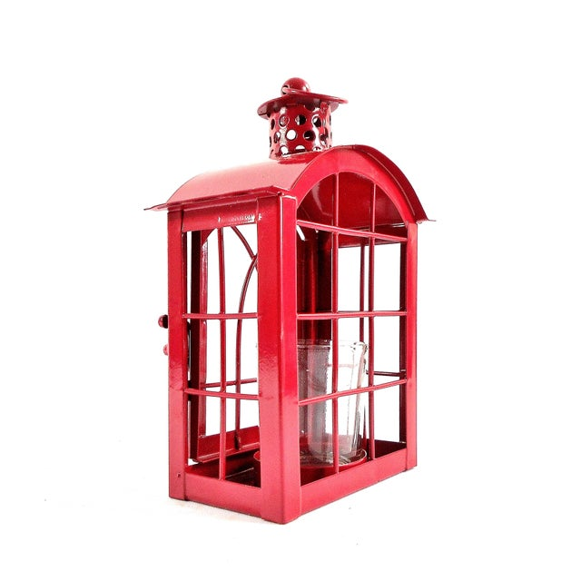 Red Metal Votive Candle Lantern For Sale In Chicago - Image 6 of 10