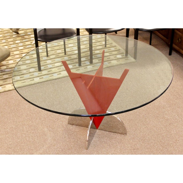 Contemporary Modern Memphis Ettore Sotsass Style Red Iron Glass Dining Table For Sale - Image 9 of 9