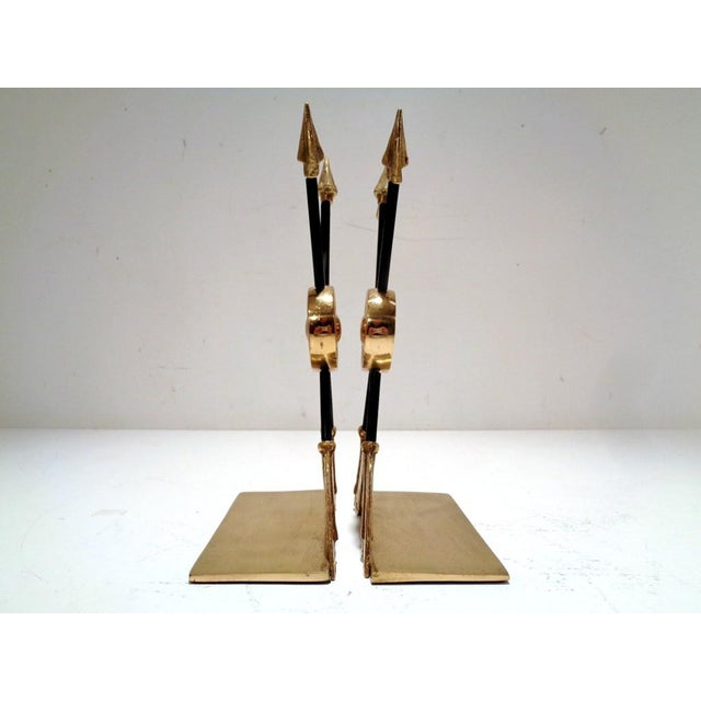 Metal Vintage Lacquered Brass Arrow Maitland Smith Style Bookends For Sale - Image 7 of 9