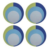 "Image of Color Block Acid Green Blue, 16"" Round Pebble Placemats, Set of 4 For Sale"