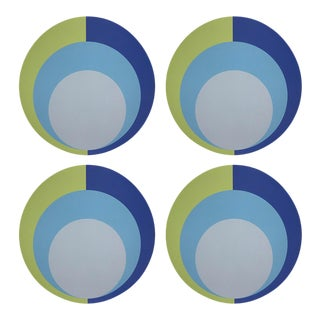 "Color Block Acid Green Blue, 16"" Round Pebble Placemats, Set of 4 For Sale"