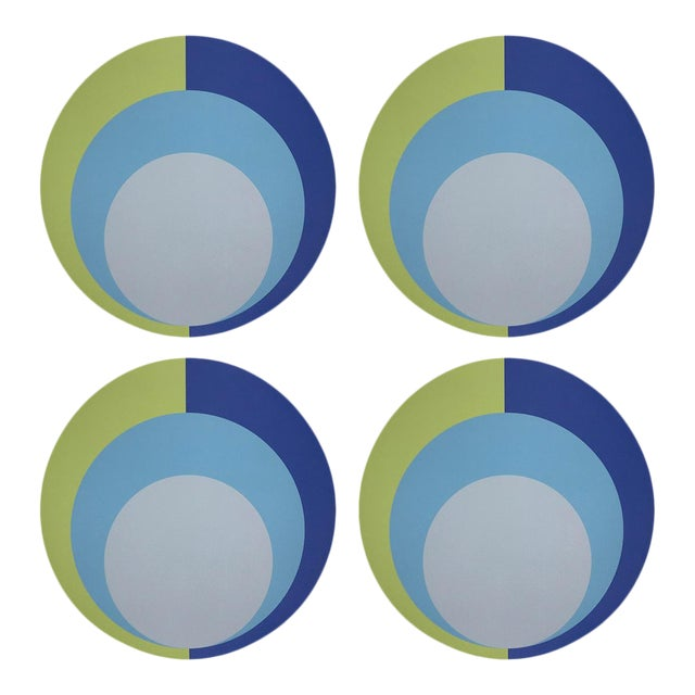 """Color Block Acid Green Blue, 16"""" Round Pebble Placemats, Set of 4 For Sale"""