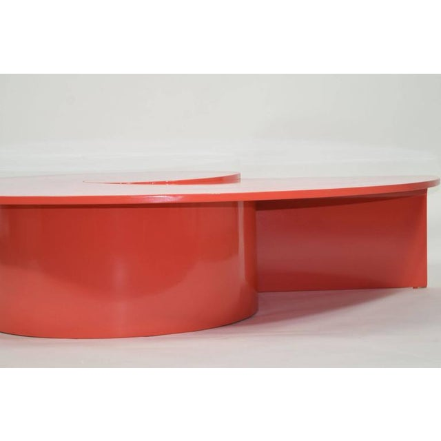 Fabulous Statement Coffee Table in Red/Orange Lacquer For Sale - Image 9 of 9