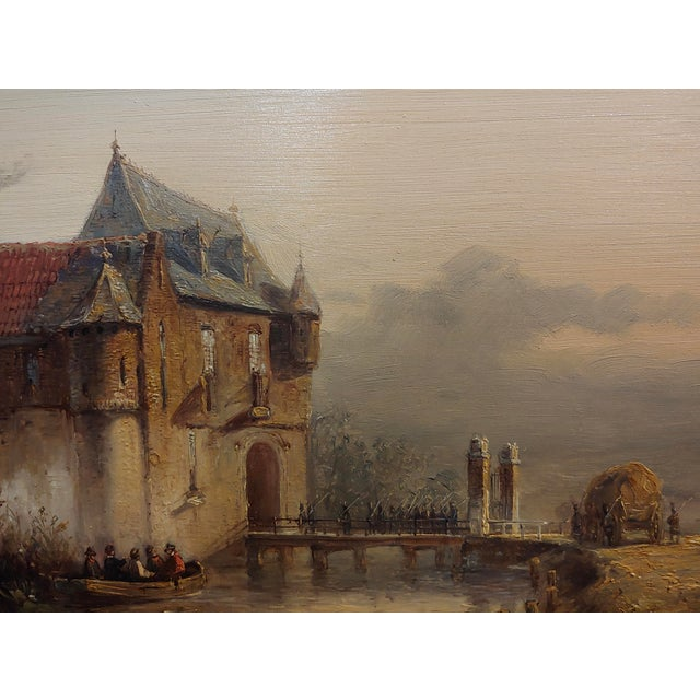 """19th Century Dutch """"Soldiers Entering a Castle"""" Oil Painting by Petrus Gerardus Vertin For Sale - Image 4 of 9"""
