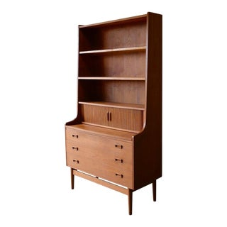 Mid Century Modern Danish Teak Bookcase / Secretary by Borge Mogensen For Sale