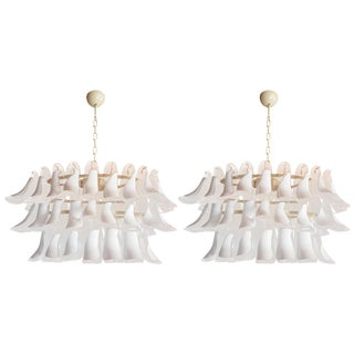Mazzega Mid-Century Modern White Murano Glass Oval Chandeliers - a Pair