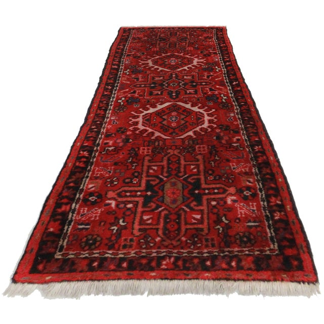 Hard to find rare and unique vintage hand knotted wool Persian Karajeh runner.