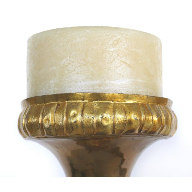 Rococo Antique Gilt Metal Ecclesiastical Pricket Candlesticks - a Pair For Sale - Image 3 of 10