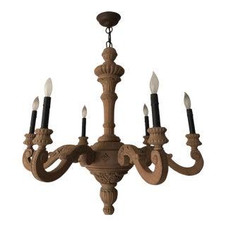Restoration Hardware Sculpted Natural Wood Six Light Chandelier For Sale